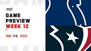 Indianapolis Colts vs Houston Texans Week 12 NFL Game Preview