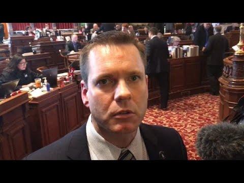 Sen. Charles Schneider, R-West Des Moines, reacts to Sen. Bill Dix's resignation