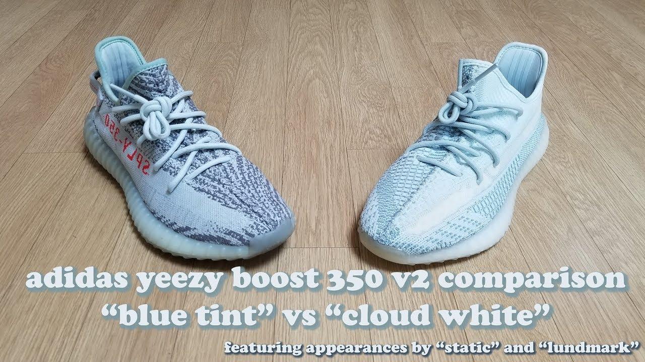 Cloud White vs Blue Tint Adidas Yeezy