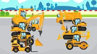 Learning Street Vehicles Name and Sound Crane Truck ,Cement Mixer Truck ,Dump Truck ,Bulldozer