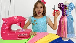 صوفيا تلعب لعبة ماكنة الخياطة