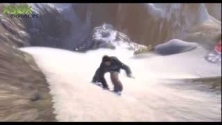 Stoked snowboarding