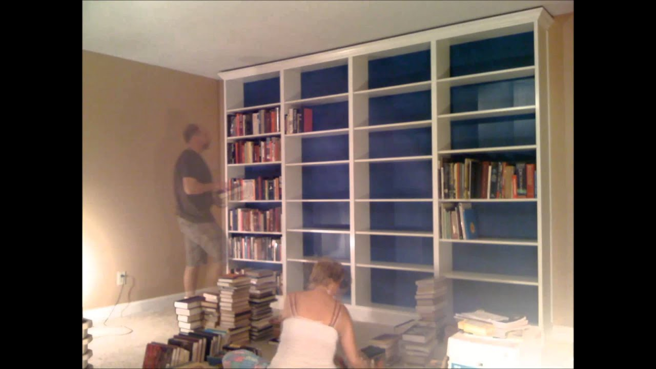 our new ikea hack bookshelf a k a a built in billy youtube. Black Bedroom Furniture Sets. Home Design Ideas