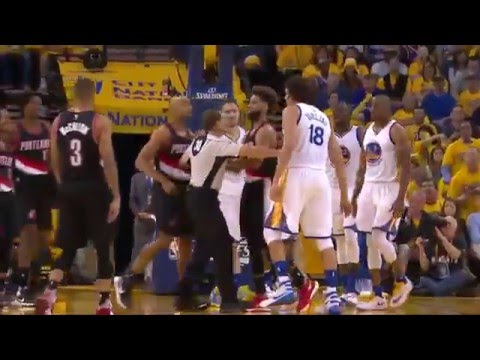 Anderson Varejao and Gerald Henderson FIGHT Blazers vs Warriors Game 1 2016 NBA Playoffs
