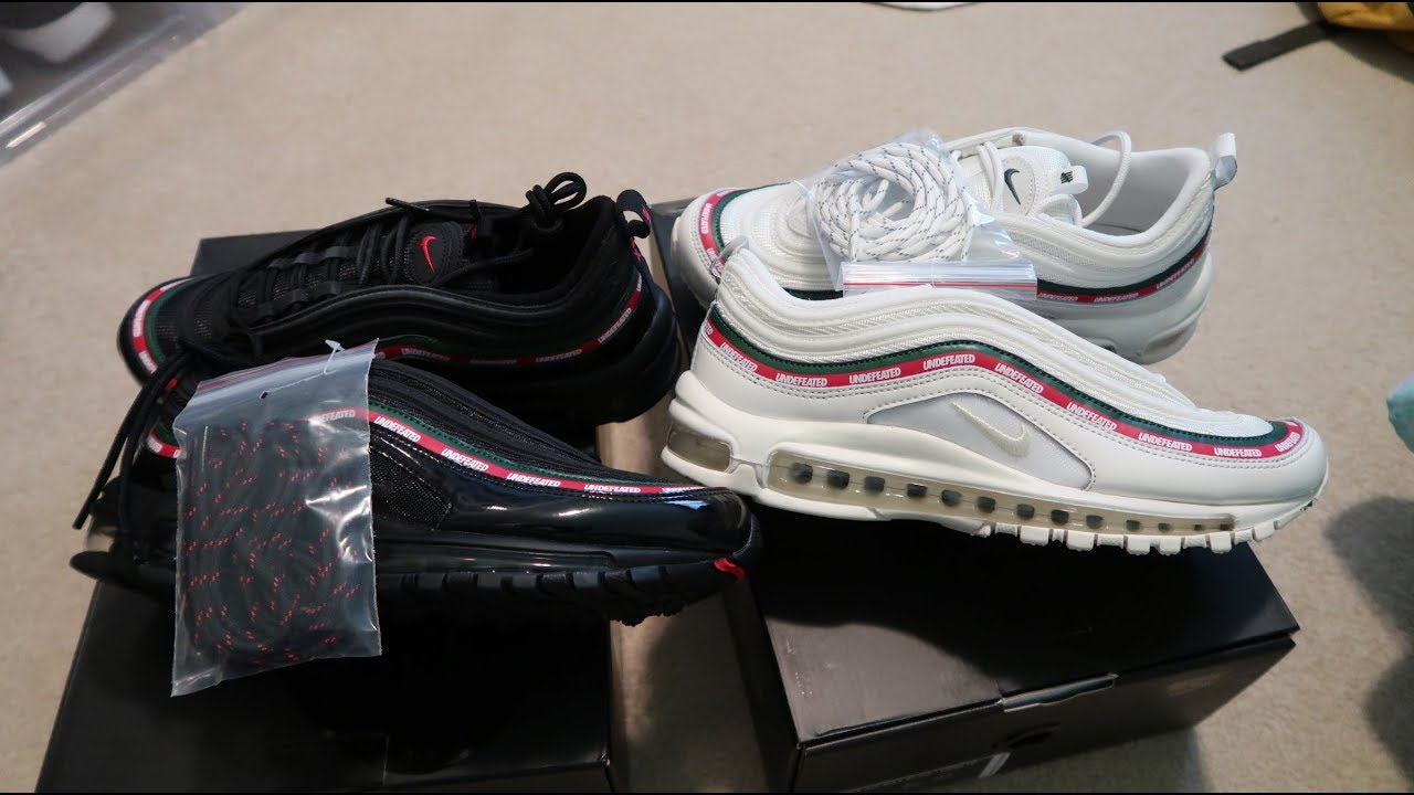 online retailer 89f2f 007b2 Undefeated x Nike Air Max 97 'Black + White' Double Sneaker Unboxing GUCCI