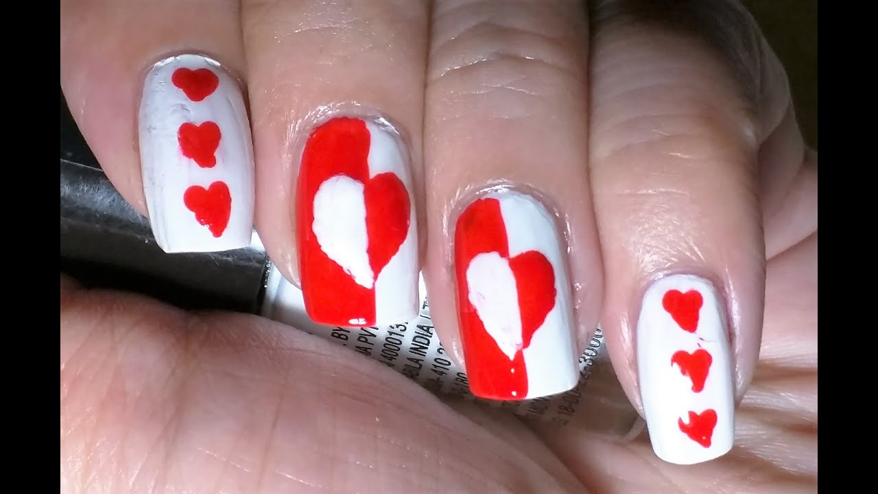 Red and White Heart Nail Art | ARS Arts | Easy and Cute nail art at ...