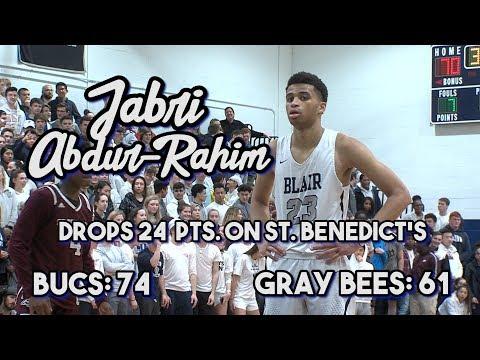 Blair Academy 74 St. Benedict's Prep 61 | Jabri Abdur-Rahim Drops 24 Points