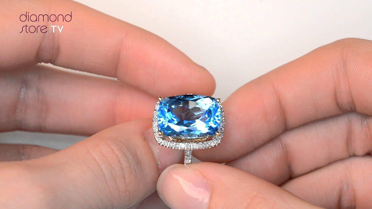 E5588 - Blue Topaz 6.83CT And Diamond 9K Yellow Gold Ring - YouTube