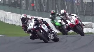 全日本ロードレース・スーパーバイク級 進入リヤスライド走法のオンパレード。筑波1コーナー thumbnail