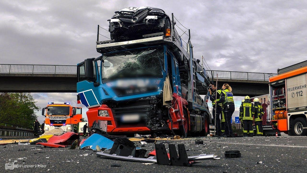 Schwerer Lkw Unfall An Stauende Mit Luxus Autozug Autobahn A3 Kreuz Koln Ost Youtube