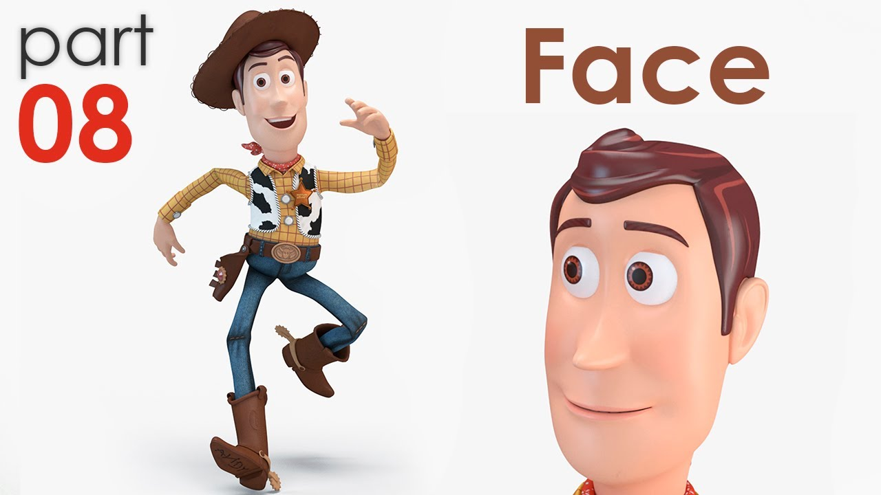 3D Modeling Sheriff Woody from TOY STORY [part 08] Face