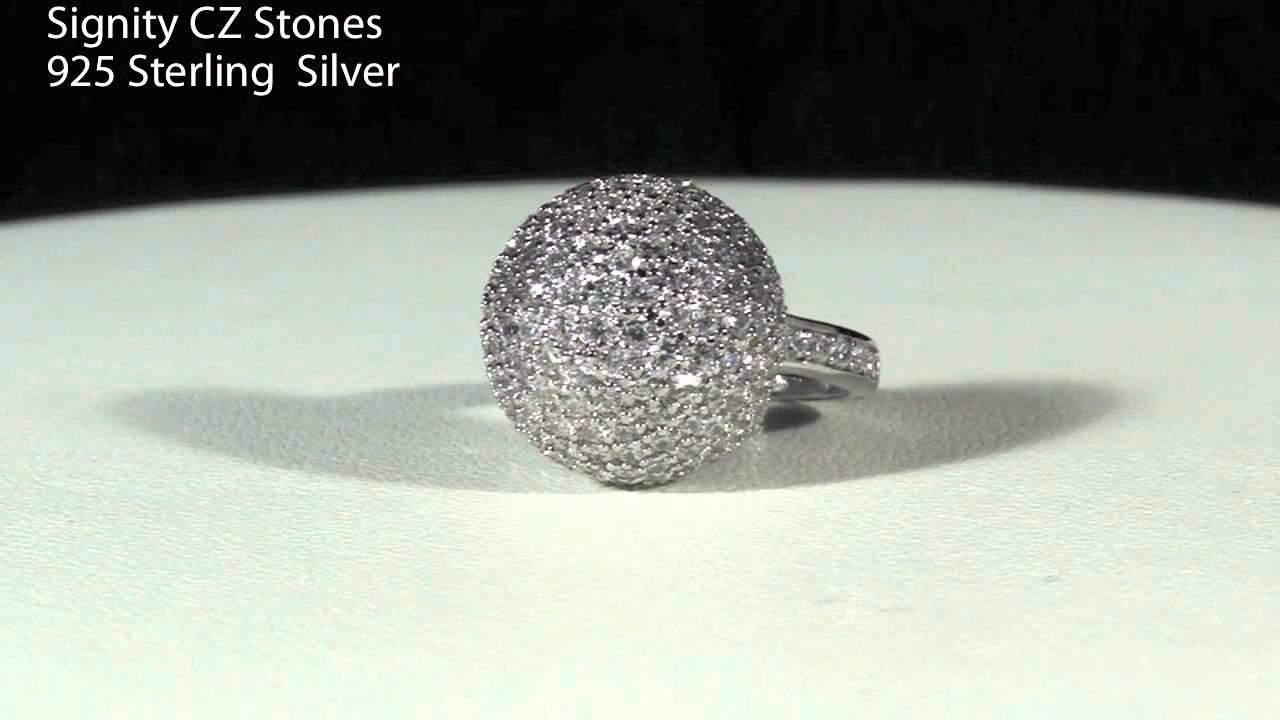 Jewelure Signity Cz Simulated Diamond Pave Set Igloo Dome