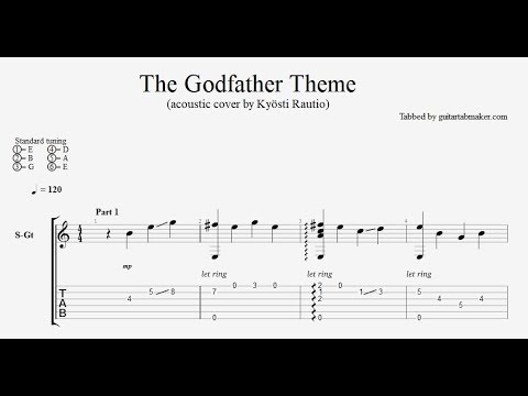 The Godfather theme TAB - easy acoustic fingerstyle guitar tab - PDF ...