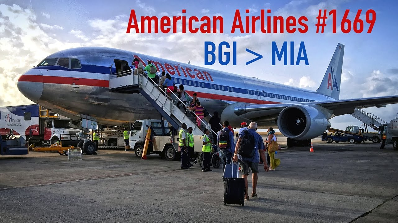 American Airlines Full Flight Barbados To Miami Boeing