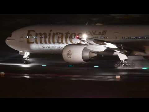Emirates 777-300ER night take off scene at Tokyo Narita Int'l Airport