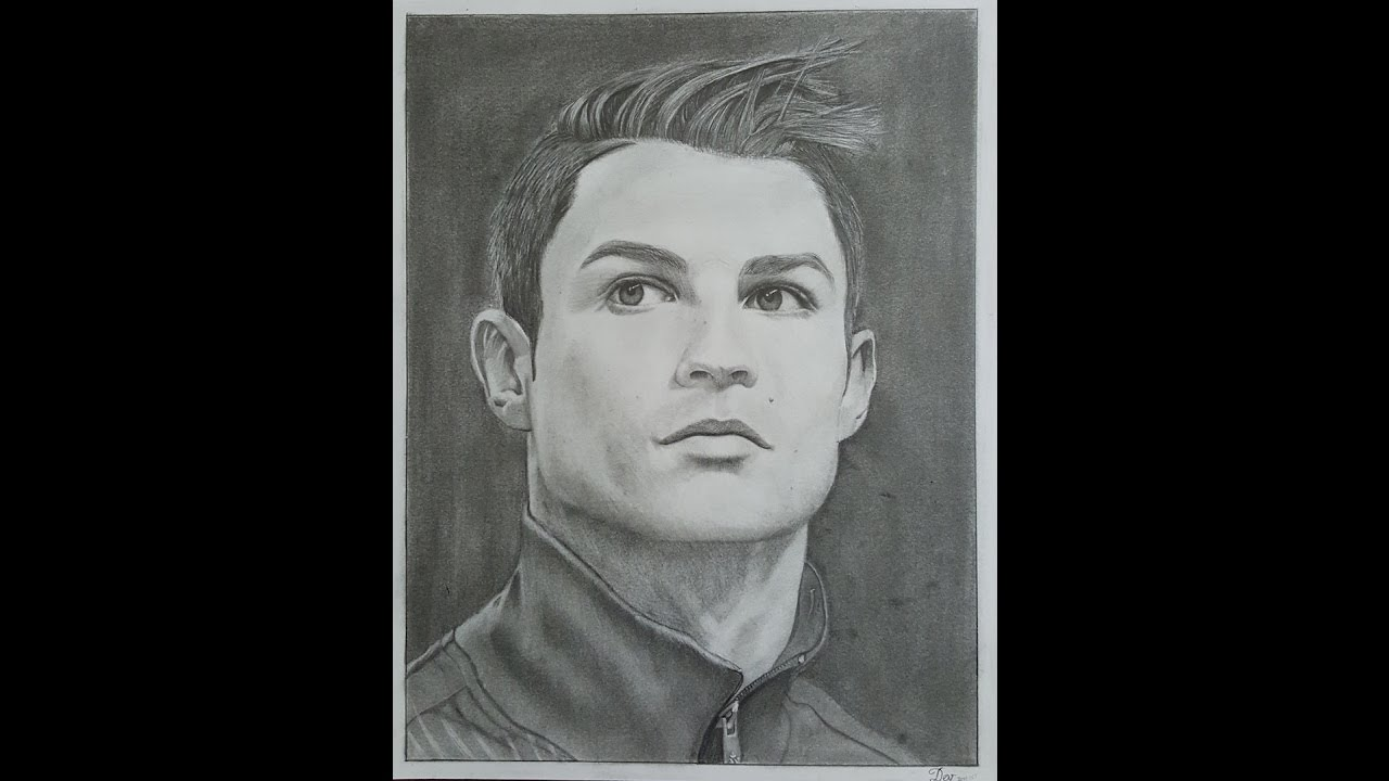 Realisctic pencil drawing of cristiano ronaldo speed drawing time lapse