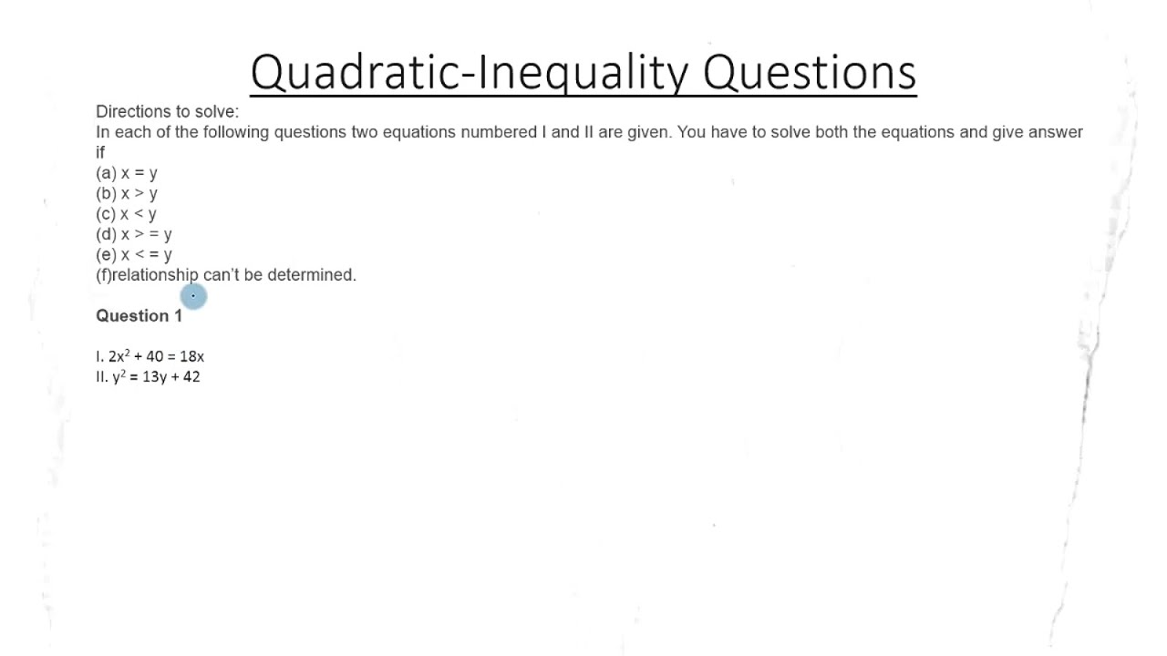 Maths Quadratic Inequality For Bank Po Clerical Exams