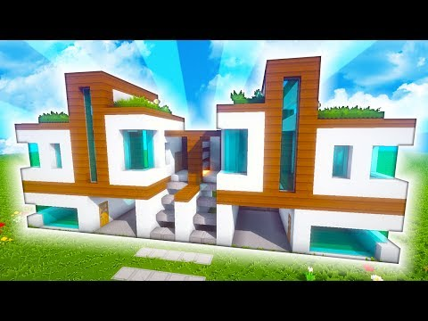 Minecraft casa moderna doble con garajes for Casas minecraft planos