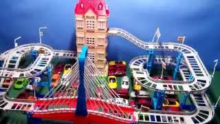 Musical bridge with toy cars