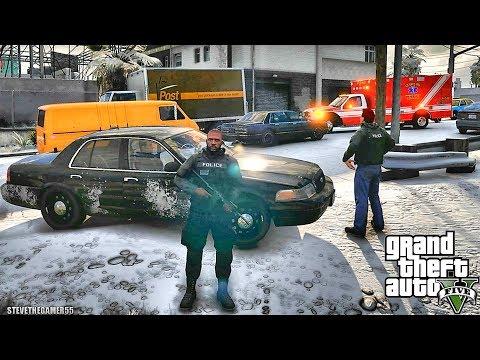 GTA 5 MODS LSPDFR 999  - GANG UNIT SNOW PATROL!!! (GTA 5 REAL LIFE PC MOD)