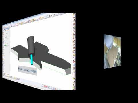Licom AlphaCAM, 5-achsige Sägen mit 3D Nachbearbeitung, hier Maschinenvideo