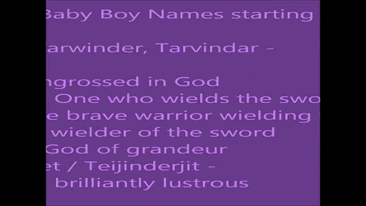 Sikh Baby Boy Names Starting With T