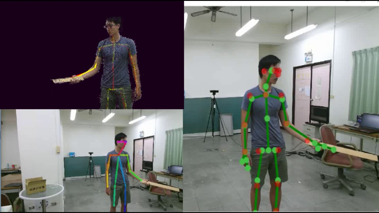 Real-Time Human Skeleton Detection, Fusion, and Tracking via multiple  cameras -demo2