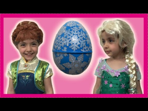 Elsa & Anna's Giant Surprise Egg Opening + Olaf & Kristoff Toys - Princesses In Real Life