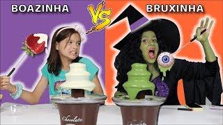 DESAFIO COMIDA VS CHOCOLATE COLORIDO (NA ESCOLA)!! Criança Boazinha Vs Bruxinha!!