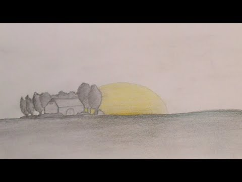 Drawing a Field with a House, Trees and the Sun in the background