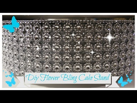 DIY  FLOWER BLING ROTATING CAKE STAND 💍 DESSERT - DISPLAY STAND (WEDDING SERIES PT 5)