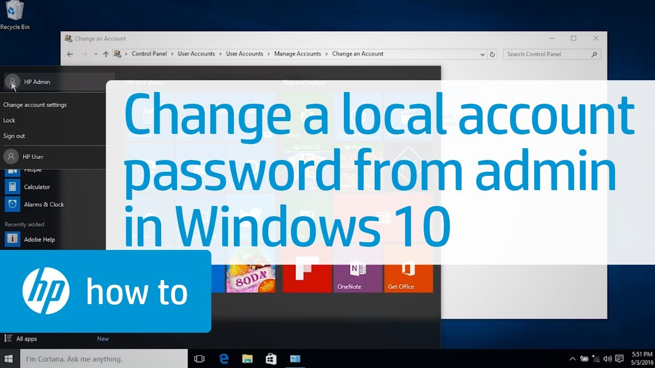changing a local user account password from an administrator account in windows 10 youtube