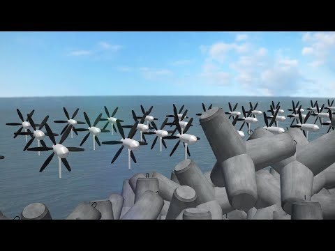 Japanese turbines harvest wave energy to generate electricity