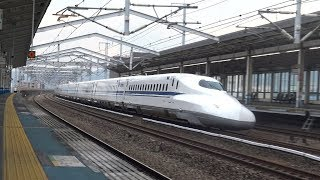 【4K】JR山陽新幹線 のぞみN700系新幹線(16両編成) 福山駅通過