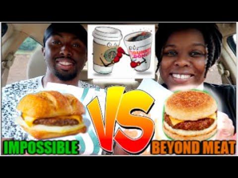 New Starbucks Impossible Breakfast Sandwich Vs Dunkin Beyond Sausage Breakfast Sandwich Youtube