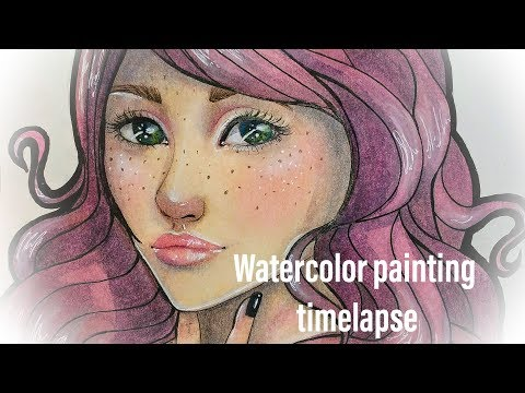 Watercolor painting speedpainting  girl portrait
