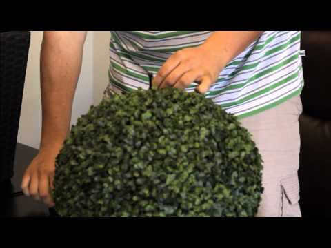#Attaching a Faux Boxwood Ball to a Wicker Vase#