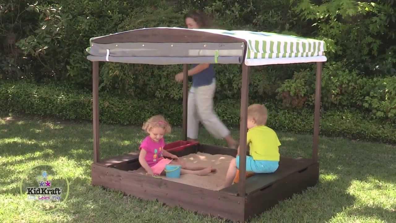 KidKraft  Wooden  Cabana Sandbox - Item 00504 & KidKraft