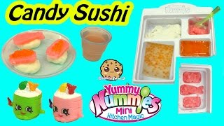 Yummy Nummies Kitchen Magic Gummy Candy Sushi Surprise Food Maker Playset - Cookieswirlc Video(Barbie is shopping at the small mart but wants something yummy for her tummy! Let's make candy sushi with this Yummy Nummies mini kitchen Magic kit Candy ..., 2016-02-28T01:53:35.000Z)