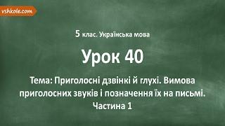 #40 Приголосні дзвінкі й глухі. Вимова приголосних. Частина 1. Відеоурок з української мови 5 клас