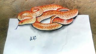 Red 3d snake drawing