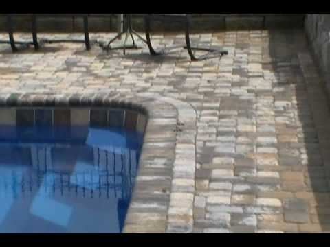 paver patio and brick coping around a fiberglass pool - youtube