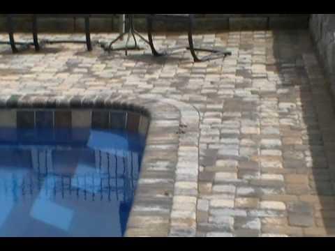 Paver Patio and Brick Coping Around a Fiberglass Pool