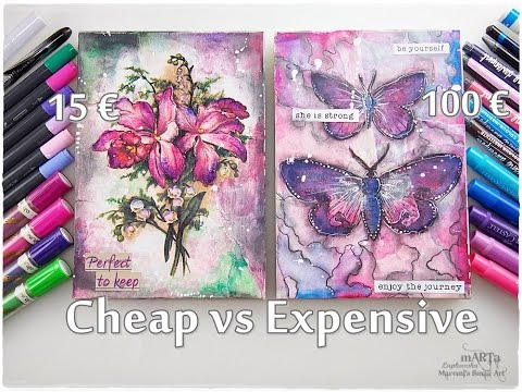 Cheap vs Expensive Art Supplies Journaling Mixed Media Tutorial ♡ Maremi's Small Art ♡