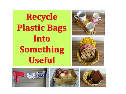 How to recycle plastic bags into something useful! - How to make Basket from Plastic Bags (DIY)