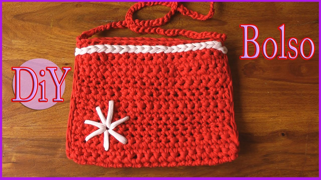 C mo hacer un bolso de trapillo con crochet - Como hacer bolsos tejidos ...