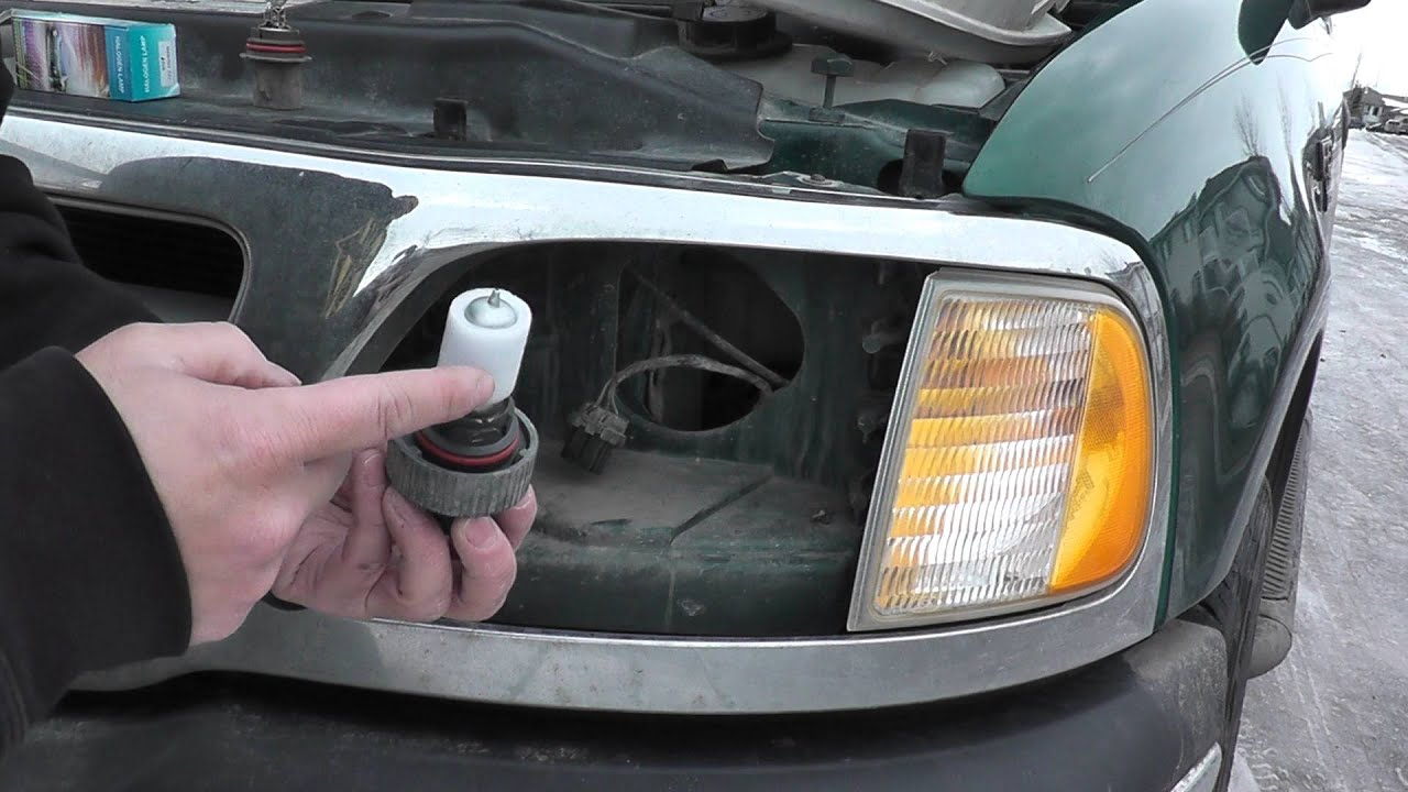 '97 F150 headlight bulb replacement - YouTube