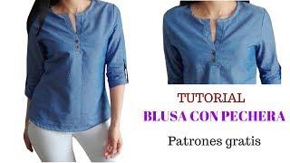 En este tutorial aprenderás a cortar y confeccionar una blusa con pechera o cartera de mujer, descarga los patrones gratis y hazlo tú misma/o ...