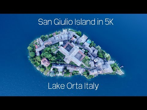 Italy by Drone: San Giulio Island, Lake Orta. 5K Video
