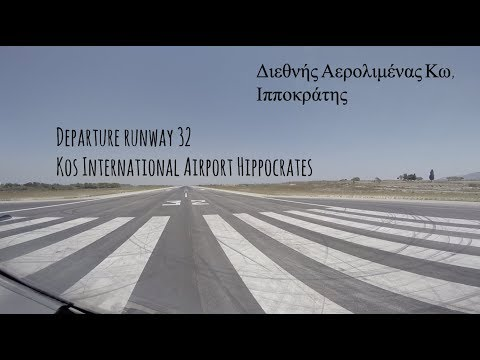 Departure runway 32 at Kos International Airport Hippocrates (KGS LGKO)